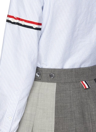 - THOM BROWNE - Contrast panel dropped back pleated skirt