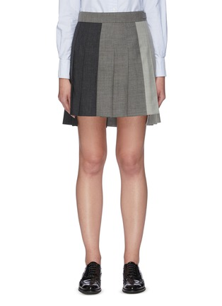 Main View - Click To Enlarge - THOM BROWNE - Contrast panel dropped back pleated skirt