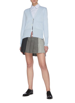 Figure View - Click To Enlarge - THOM BROWNE - Contrast panel dropped back pleated skirt