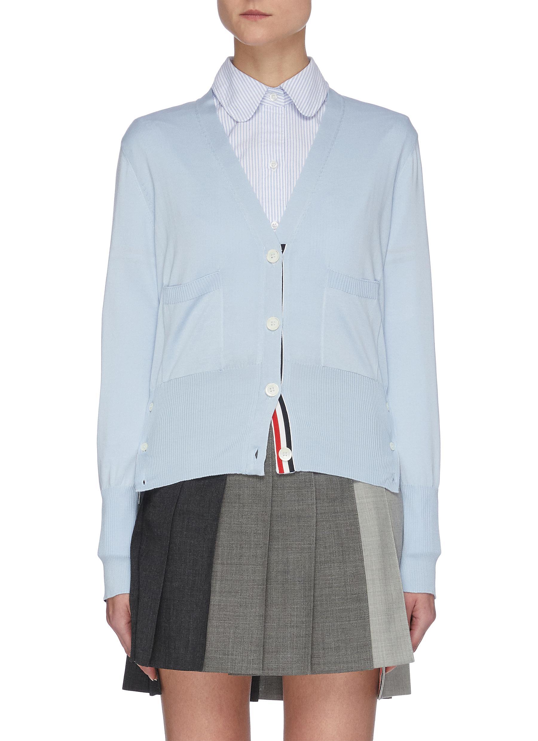 Intarsia stripe back cardigan - THOM BROWNE - Modalova