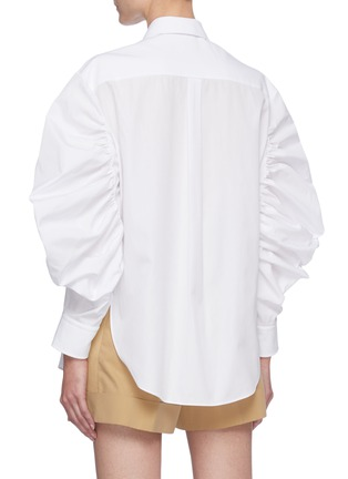 Back View - Click To Enlarge - ALEXANDER MCQUEEN - Gathered Balloon Sleeve Point Collar Shirt