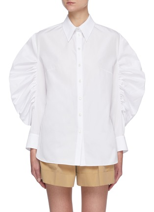 Main View - Click To Enlarge - ALEXANDER MCQUEEN - Gathered Balloon Sleeve Point Collar Shirt