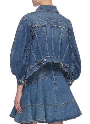 Back View - Click To Enlarge - ALEXANDER MCQUEEN - Pleat Detail Puffed Sleeve Denim Crop Jacket