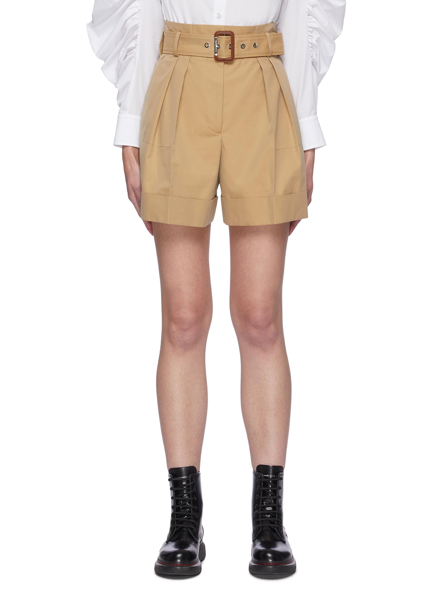 Alexander Mcqueen Cottons BELTED PLEAT DETAIL MILITARY SHORTS