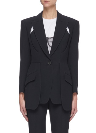 Main View - Click To Enlarge - ALEXANDER MCQUEEN - Cut-out Detail Single-breast Blazer