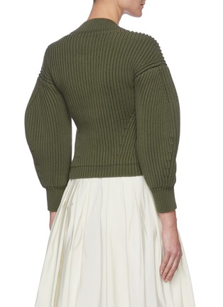 Back View - Click To Enlarge - ALEXANDER MCQUEEN - Square neck puff sleeve sweater