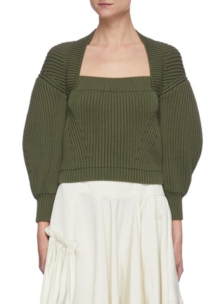 Main View - Click To Enlarge - ALEXANDER MCQUEEN - Square neck puff sleeve sweater