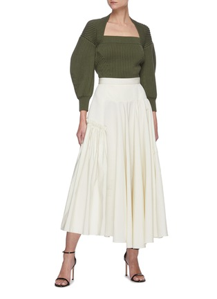 Figure View - Click To Enlarge - ALEXANDER MCQUEEN - Square neck puff sleeve sweater