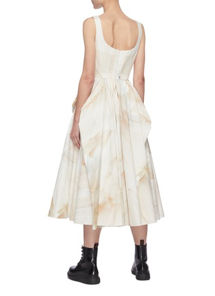 Back View - Click To Enlarge - ALEXANDER MCQUEEN - Sleeveless Scoop Neck Watercolour Print Pleated Dress