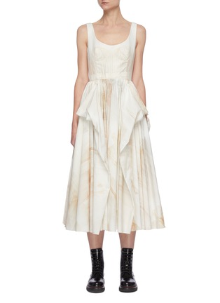 Main View - Click To Enlarge - ALEXANDER MCQUEEN - Sleeveless Scoop Neck Watercolour Print Pleated Dress