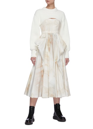 Figure View - Click To Enlarge - ALEXANDER MCQUEEN - Sleeveless Scoop Neck Watercolour Print Pleated Dress