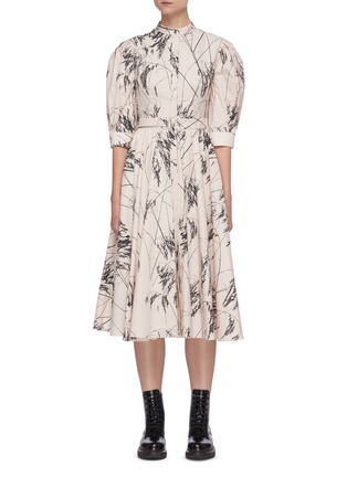 Main View - Click To Enlarge - ALEXANDER MCQUEEN - Willow Print Back Slit Balloon Sleeve Pleated Cotton Dress
