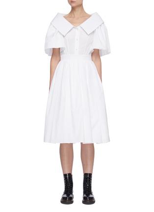 Main View - Click To Enlarge - ALEXANDER MCQUEEN - Sculpted Open Collar Puff Sleeve Ruffled Dress