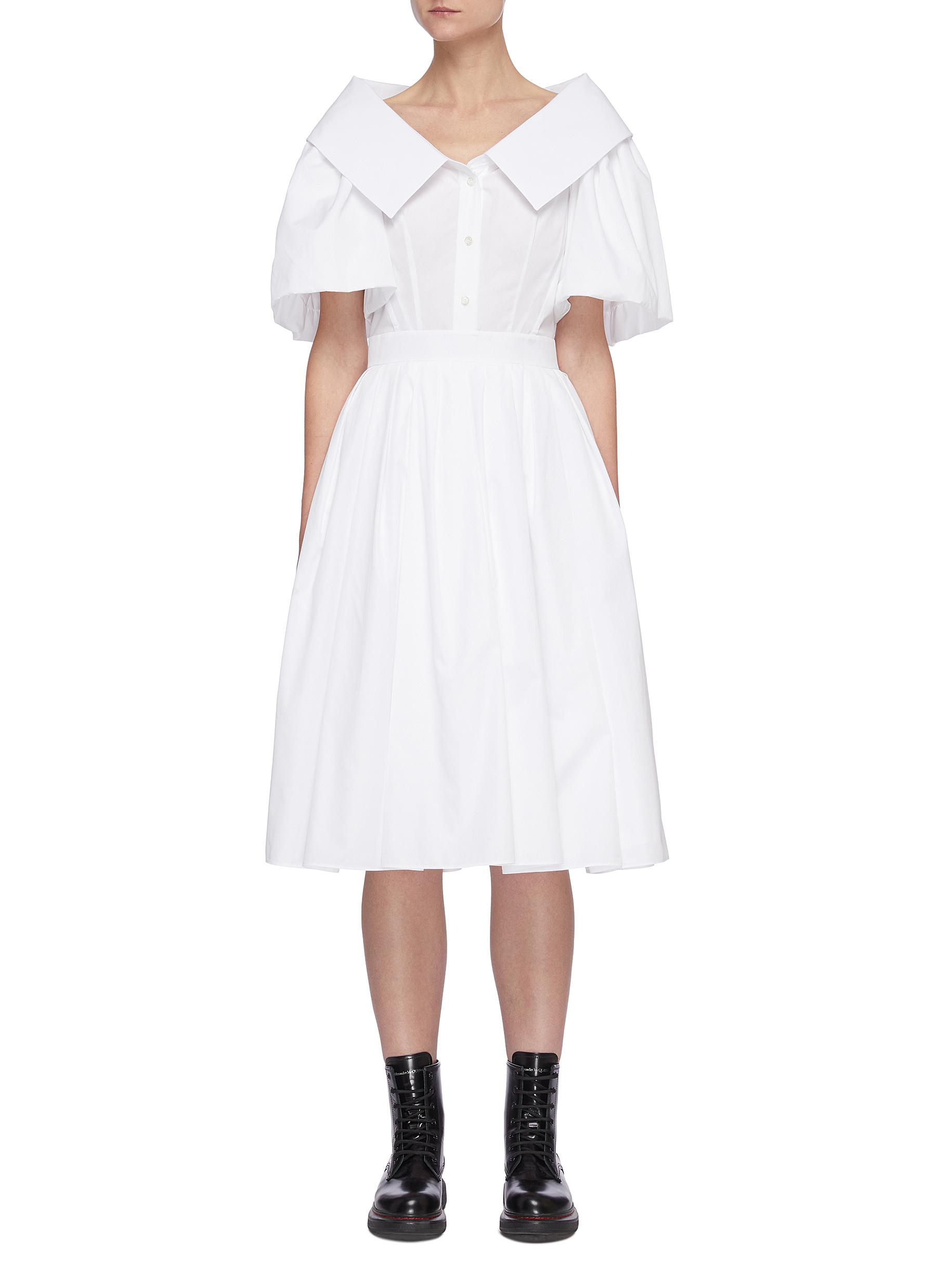 Alexander Mcqueen Cottons SCULPTED OPEN COLLAR PUFF SLEEVE RUFFLED DRESS