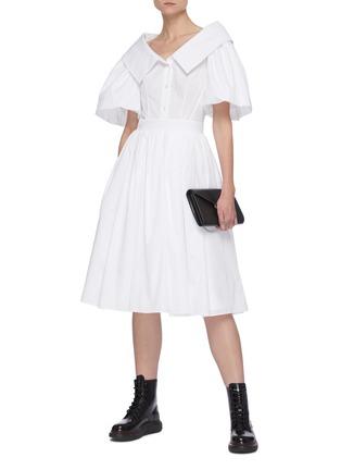 Figure View - Click To Enlarge - ALEXANDER MCQUEEN - Sculpted Open Collar Puff Sleeve Ruffled Dress