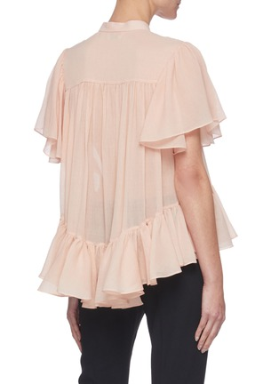 Back View - Click To Enlarge - ALEXANDER MCQUEEN - Ruffled Smock Round Collar Blouse