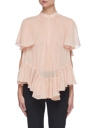 Main View - Click To Enlarge - ALEXANDER MCQUEEN - Ruffled Smock Round Collar Blouse