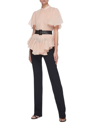 Figure View - Click To Enlarge - ALEXANDER MCQUEEN - Ruffled Smock Round Collar Blouse