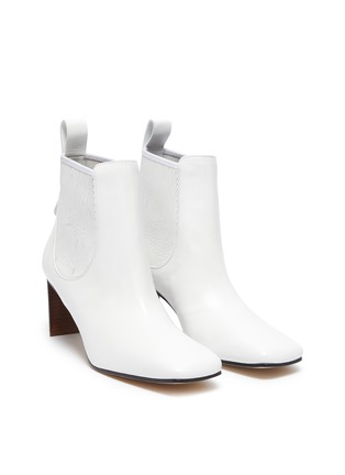 Detail View - Click To Enlarge - LOEWE - Block Heel Leather Insert Chelsea Boots