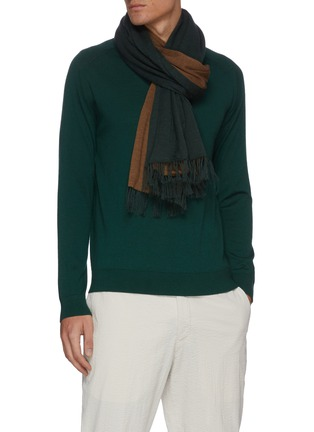 Figure View - Click To Enlarge - DREYDEN - Duo-tone Double Face Fringe Scarf