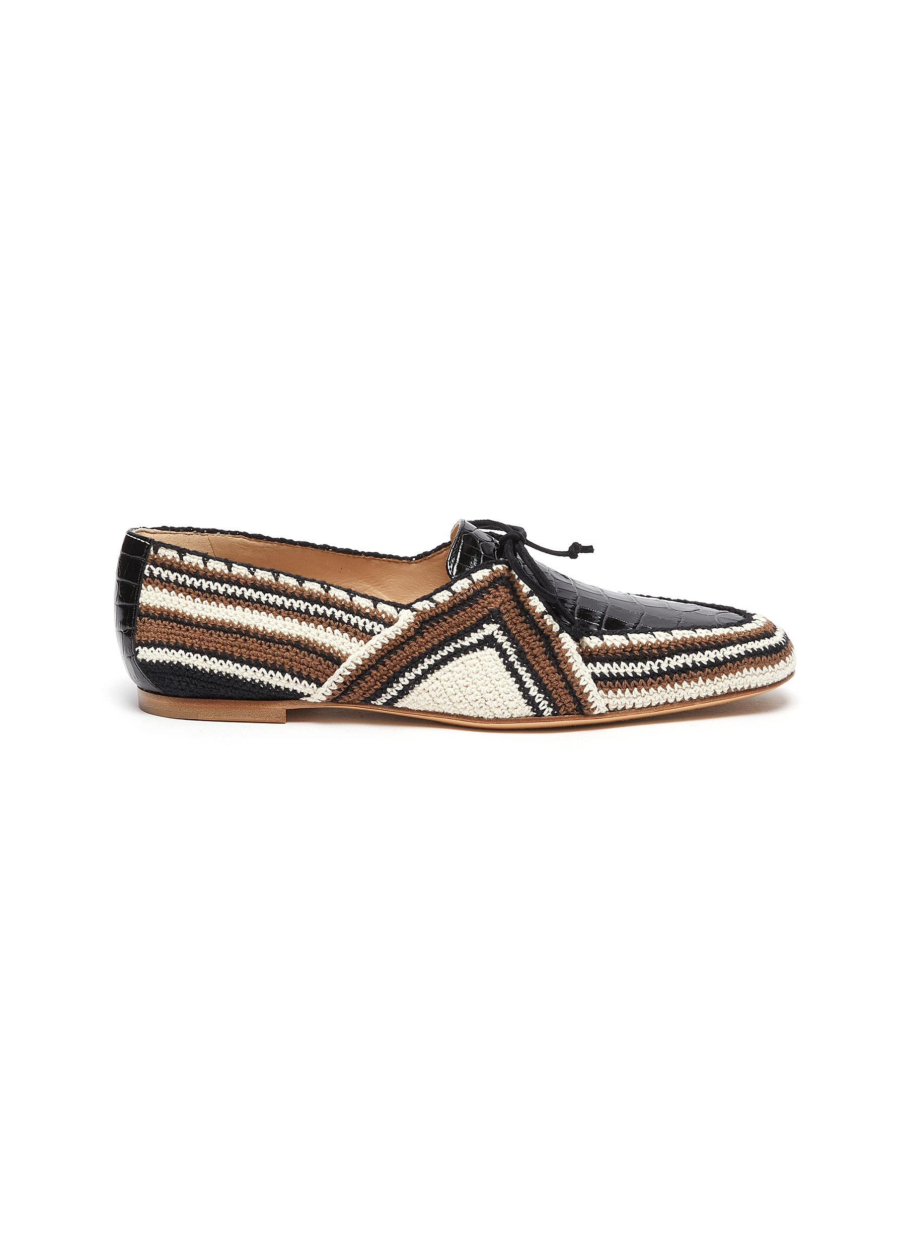 Gabriela Hearst HAYS' KNIT PATENT CROC EMBOSSED LEATHER LOAFERS