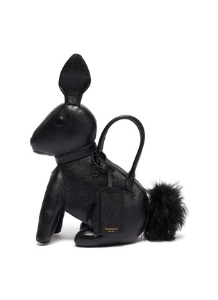 Main View - Click To Enlarge - THOM BROWNE - Fur pom pom pebble grain leather rabbit bag with knit sweater