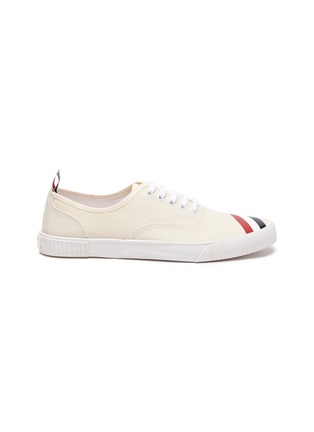 Main View - Click To Enlarge - THOM BROWNE - Tricolour Stripe Low Top Heritage Sneakers