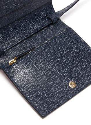 Detail View - Click To Enlarge - THOM BROWNE - Contrast stripe pebble grain leather cardholder