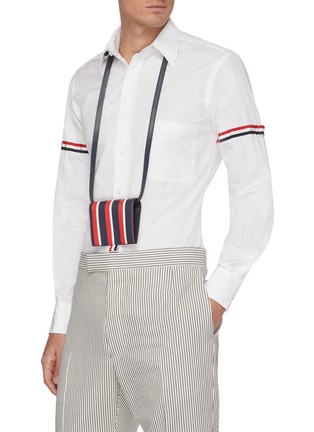 Figure View - Click To Enlarge - THOM BROWNE - Contrast stripe pebble grain leather cardholder