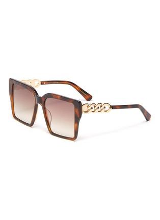 Main View - Click To Enlarge - FOR ART'S SAKE - Chain Detail Tortoiseshell Effect Acetate Square Frame Sunglasses