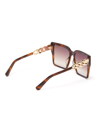 Figure View - Click To Enlarge - FOR ART'S SAKE - Chain Detail Tortoiseshell Effect Acetate Square Frame Sunglasses