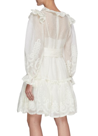 Back View - Click To Enlarge - ZIMMERMANN - 'The LOVESTRUCK' Rope Embroidered Ruffle Trim Tier Dress