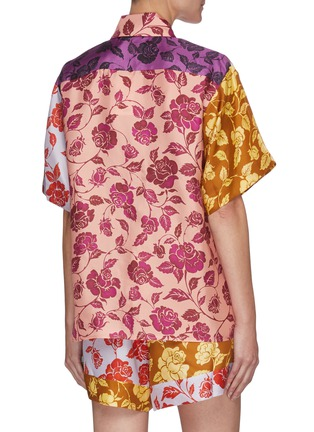 Back View - Click To Enlarge - ZIMMERMANN - 'The Lovestruck' Contrast Floral Graphic Print Silk Shirt
