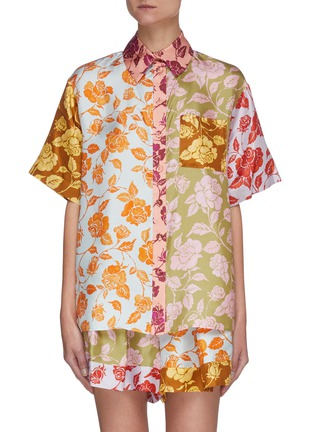 Main View - Click To Enlarge - ZIMMERMANN - 'The Lovestruck' Contrast Floral Graphic Print Silk Shirt
