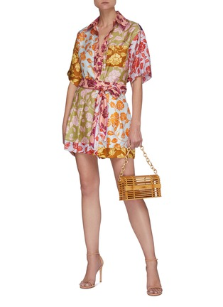 Figure View - Click To Enlarge - ZIMMERMANN - 'The Lovestruck' Contrast Floral Graphic Print Silk Shirt