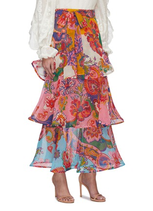Detail View - Click To Enlarge - ZIMMERMANN - 'The Lovestruck' Belted Paisley Floral Graphic Maxi Flounce Skirt