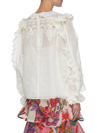 Back View - Click To Enlarge - ZIMMERMANN - 'The Lovestruck' Ruffle Trim Floral Jacquard Blouse