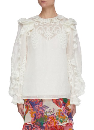 Main View - Click To Enlarge - ZIMMERMANN - 'The Lovestruck' Ruffle Trim Floral Jacquard Blouse