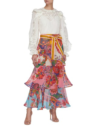 Figure View - Click To Enlarge - ZIMMERMANN - 'The Lovestruck' Ruffle Trim Floral Jacquard Blouse