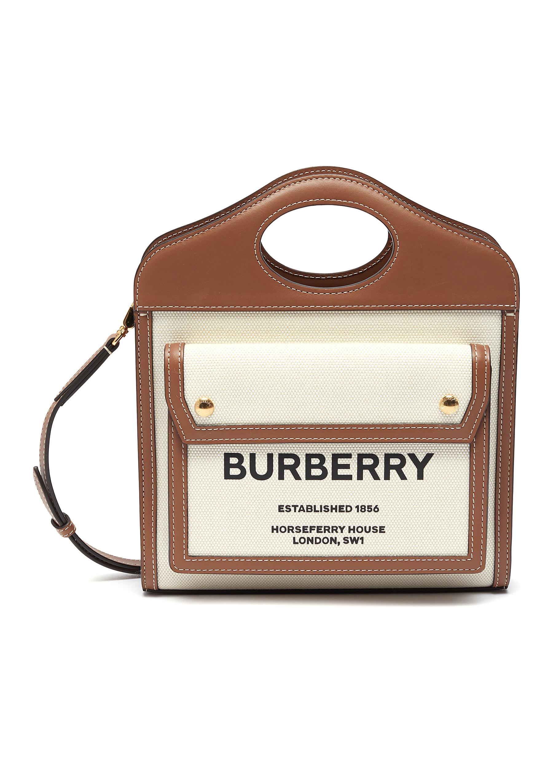 Burberry 'pocket' Logo Leather Canvas Mini Handle Bag In Neutral,brown