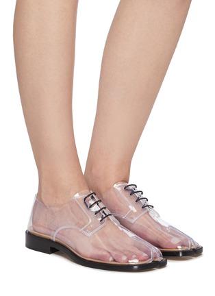 Figure View - Click To Enlarge - MAISON MARGIELA - 'Tabi' lace-up PVC flat derby shoes