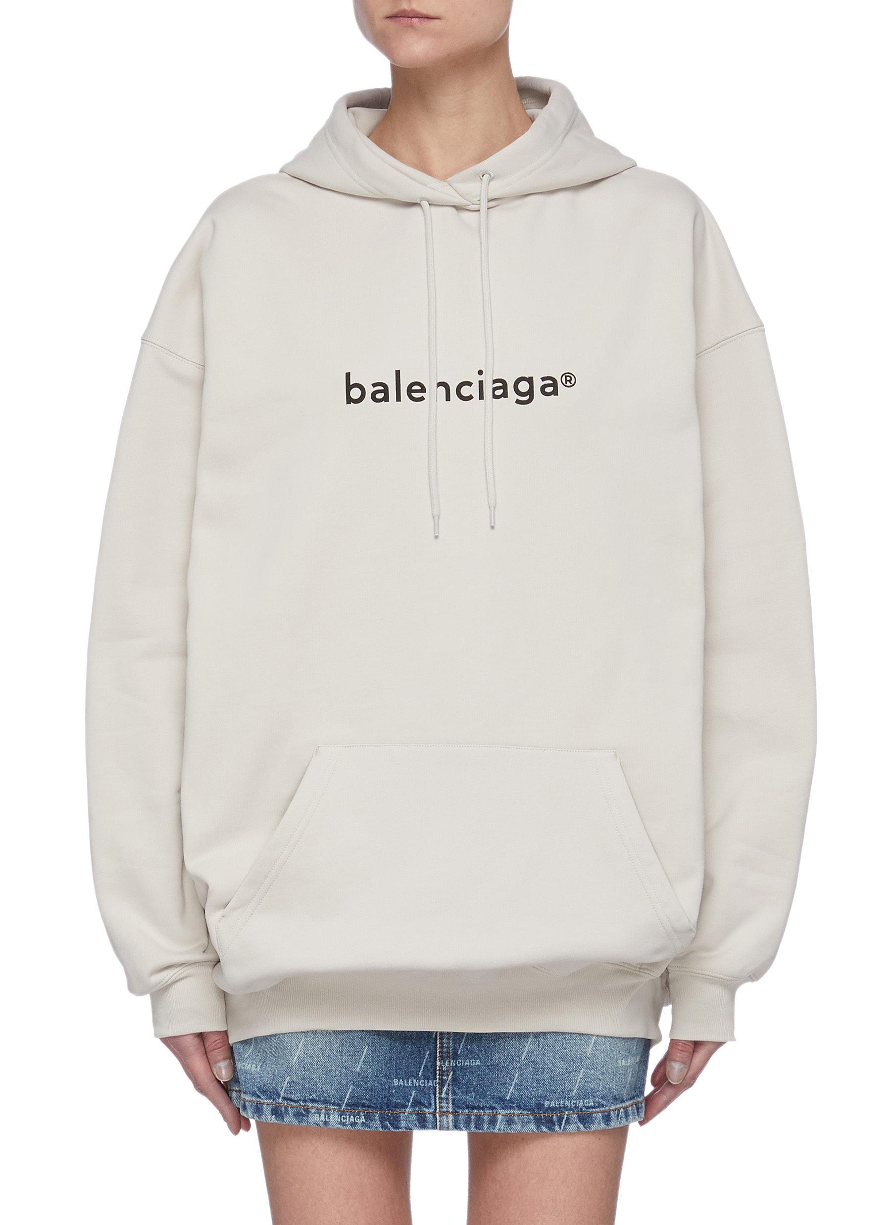 Balenciaga Clothing LOGO PRINT COTTON DRAWSTRING HOODIE
