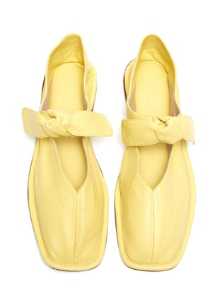Detail View - Click To Enlarge - HEREU - 'Llasda' Front Knot Detail Leather Ballet Flats