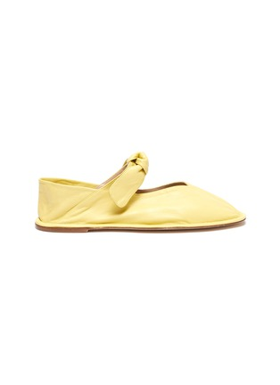 Main View - Click To Enlarge - HEREU - 'Llasda' Front Knot Detail Leather Ballet Flats