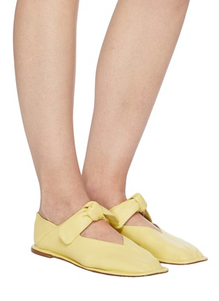 Figure View - Click To Enlarge - HEREU - 'Llasda' Front Knot Detail Leather Ballet Flats