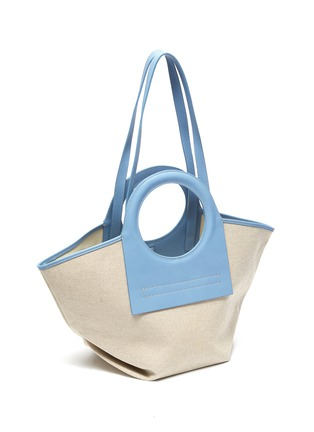 Detail View - Click To Enlarge - HEREU - 'Cala' Circular Leather Handle Small Canvas Tote