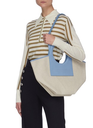 Front View - Click To Enlarge - HEREU - 'Cala' Circular Leather Handle Small Canvas Tote