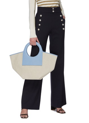 Figure View - Click To Enlarge - HEREU - 'Cala' Circular Leather Handle Small Canvas Tote