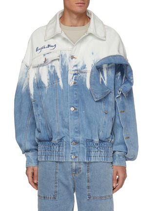 Main View - Click To Enlarge - FENG CHEN WANG - Deconstructed Collar Detail Gradient Tie-dye Denim Jacket