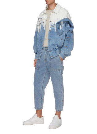 Figure View - Click To Enlarge - FENG CHEN WANG - Deconstructed Collar Detail Gradient Tie-dye Denim Jacket